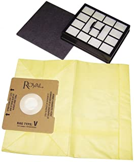 Royal AR10125 Type V SR30015 Canister Vacuum Cleaner Bags 7pk + 1 Filter, Genuine Royal-Aire Bags, Part AR10125