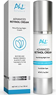 Anti-Wrinkle Retinol Cream with Hyaluronic Acid – Results in 2-4 Weeks –Gentle Anti Aging Moisturizer Night Cream for Women and Men – Rose Water, Jojoba, and Aloe Vera - USA Made, 1.7 Ounce