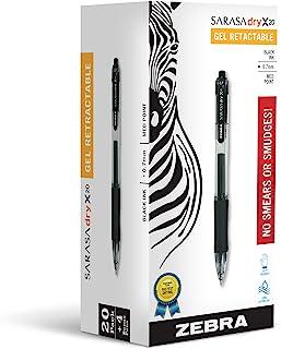 Zebra Pen Sarasa X20 Retractable Gel Ink Pens, Medium Point 0.7mm, 20 Black, 2 Blue, 2 Red Pens, Rapid Dry Ink, 24 Pack (P...