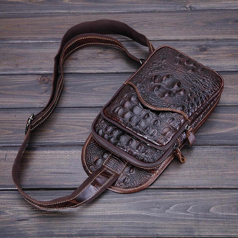 Mnnliche Brusttasche Freizeit Wachs Wachs Leder Tasche Krokodil Muster Schulranzen , braun