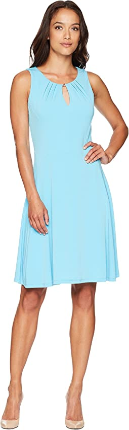 Sleeveless Pleated A-Line Knee Length Dress