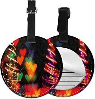 Love Christmas Tree Luggage Tag Suitcase Backpacks ID Tag with Adjustable Strap 2 Pack