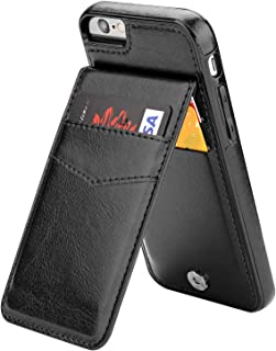 iPhone 6 iPhone 6S Case Wallet with Credit Card Holder, KIHUWEY Premium Leather Magnetic Clasp Kickstand Heavy Duty Protective Cover for iPhone 6/6S 4.7 Inch (Black)
