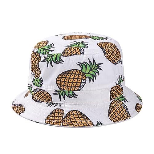 Dealzip Inc Ladies Women Headwear Pineapple Pattern Wide Rim Flat Fishing Bucket  Hat Cap 578a9656eb9