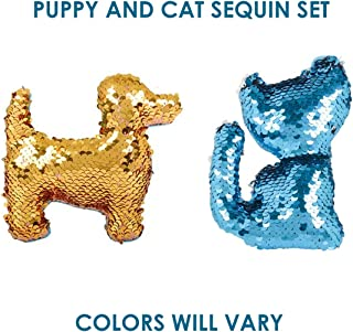 Cat & Dog Flip Sequin Mini Set-2 Pcs~Toys for Boys & Girls, Color Changing, Bulk Birthday Party Favors for Kids, Elementary School Treasure Box Prizes for Classroom, Easter Basket Stuffers(Cat & Dog)