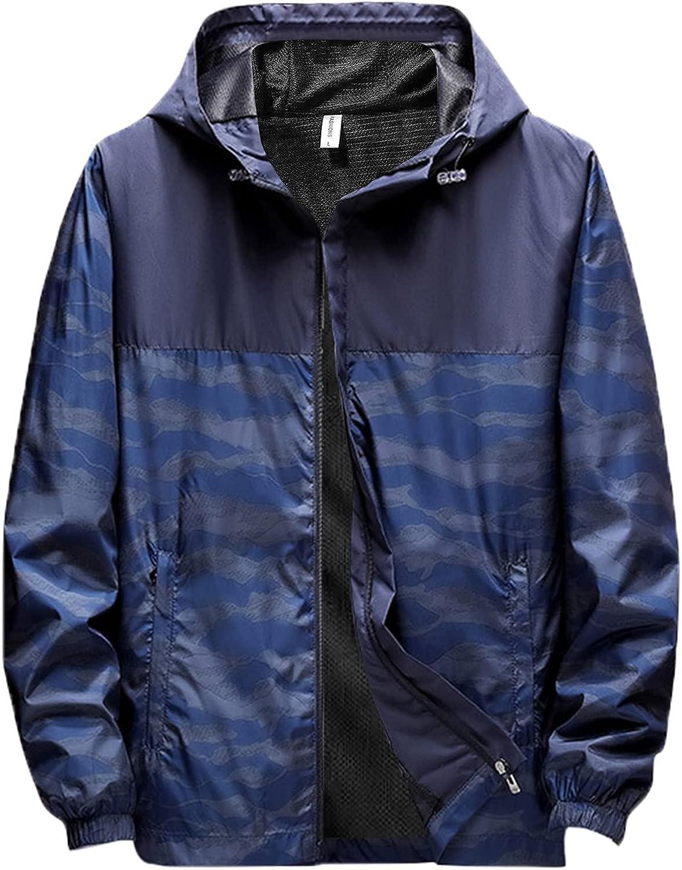 Huangse Fall Thin Jacket for Men Waterproof Windbreaker Jacket with Hood Camo Print Patchwork Sportswear Fashion Raincoat