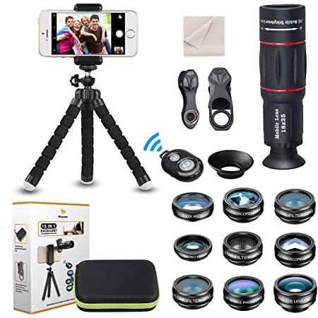 Kit de lente de cámara universal para teléfono Teleobjetivo 18X Lente gran angular,macro, ojo de pez filtro CPL Flow Star Radial trípode, obturador remoto para la mayoría de los teléfonos inteligentes
