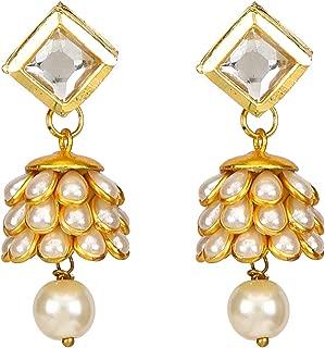 Runjhun Jewellery Pearl And Kundan Elegant Light Weight Designer Ethnic Indian Semi Precious Stone Earring