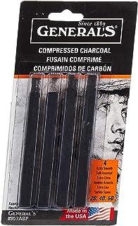 General Pencil 957ABP Compressed Charcoal Sticks 4/Pkg-Black - Soft Assorted - 3 Pack