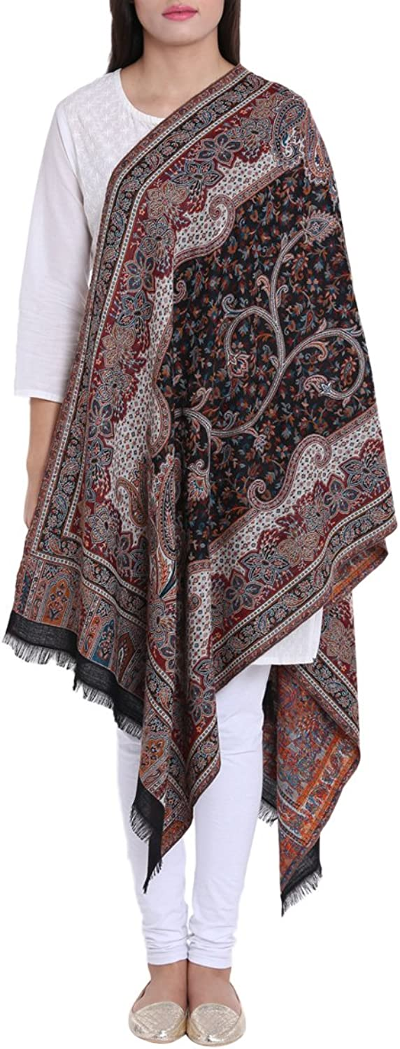 Antique Style Woolen Scarf Kaani Floral Woven Design Wrap Indian Outfit Women Accessories 27X70 Inch 210 Grams