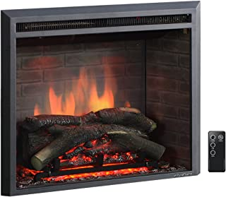 PuraFlame 26 Inches Western Electric Fireplace Insert with Remote Control, 750/1500W, Black