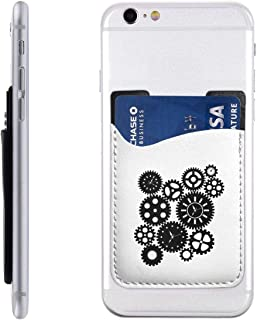 Time Clock Gears Clipart Phone Card Holder Sleeve 3M Adhesive Sticker Compatible All Phones (1 Pcs)