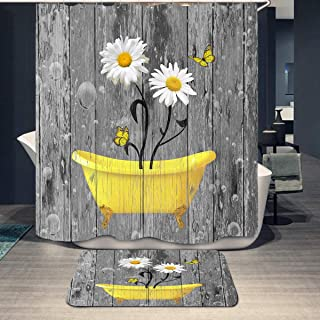 Rustic Floral Yellow Daisy in Bathtub Shower Curtain and Mat Rug Set,Farmhouse Style Flower on Grey Wooden Barn Door Fabri...