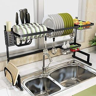 DJSMsnj Rangement de cuisine en acier inoxydable 201 - Égouttoir d'évier de cuisine - Étagères de rangement pour ustensile...