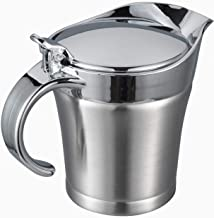 IMEEA Double Wall Insulated Gravy Boat SUS304 Stainless Steel Gravy Warmer Serving Sauce Jug with Lid for Gravy, Cream, Sa...