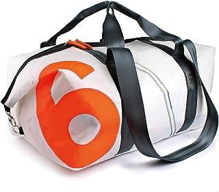 360° Grad Sporttasche aus Segeltuch Reisetasche Kutter XL weiß Zahl neon orange