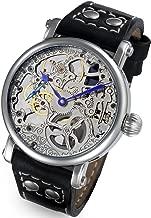 Rougois Mechanique Silver Skeleton Watch Leather Black Rivet Band