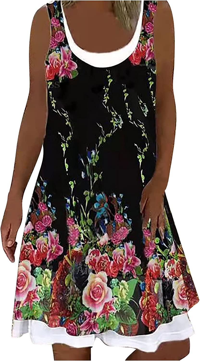 Summer Dresses for NEW Women Casual O Sun Midi Dr Neck Max 74% OFF Loose
