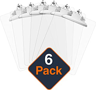 Plastic Clipboards (Set of 6) Multi Pack Clipboard (Transparent)| Strong 12.5 x 9 Inch | Holds 100 Sheets! Acrylic Clipboards Big Clip Board Clips