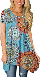 BISHUIGE Womens Summer Short Sleeve Irregular Hem Loose Tunic Tops Flowy Blouses Shirt