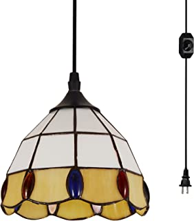 HMVPL Vintage Tiffany Glass Pendant Ceiling Light with 16.4 Ft Plug in Cord and On/Off Dimmer Switch, Round Multicolored Swag Hanging Lamp for Kitchen Island Dining Room or Bed Room (8.2'' W)