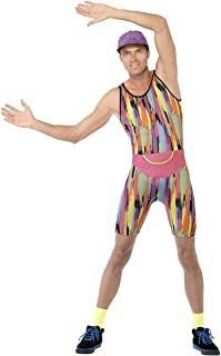 Smiffy's Men's Aerobics Instructor Costume, Bodysuit, Hat and Bum Bag, Back to The 90's, Serious Fun, Size M, 23696