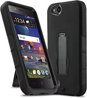 Phone Case for [ZTE ZFIVE G LTE (Z557BL) / ZTE ZFIVE C LTE (Z558VL)], [Impact Series][Black] Shockproof [Easy Grip] Cover with [Kickstand] (Tracfone, Simple Mobile, Straight Talk, Total Wireless)