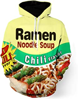 Funny 3D Men Hoodies Ramen Noodle Pullovers Drawstring Beef Sweatshirt