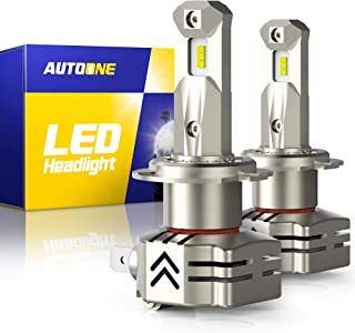 AUTOONE H7 LED Headlight Bulbs, 6000K White 12000LM, Same OEM Size for High Low Beam Headlamp, Pack of 2