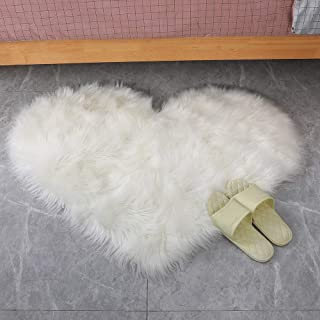 Villsure Heart Shaped Love Area Rug, Cozy Shaggy Plush Floor Mat for Bedroom Floor Living Room Dormitory Home Decoration White Fluffy Sofa Throw Chair Cover Bedside Carpet 2.3ft x 3ft, Love Shape