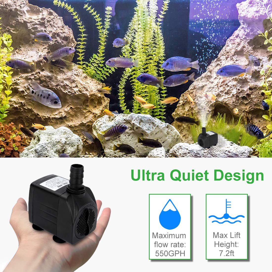GROWNEER 2 Packs 550GPH Submersible Pump 30W Ultra Quiet Fountain Water Pump, 2000L/H, with 7.2ft High Lift, 3 Nozzles for Aquarium, Fish Tank, Pond, Hydroponics, Statuary