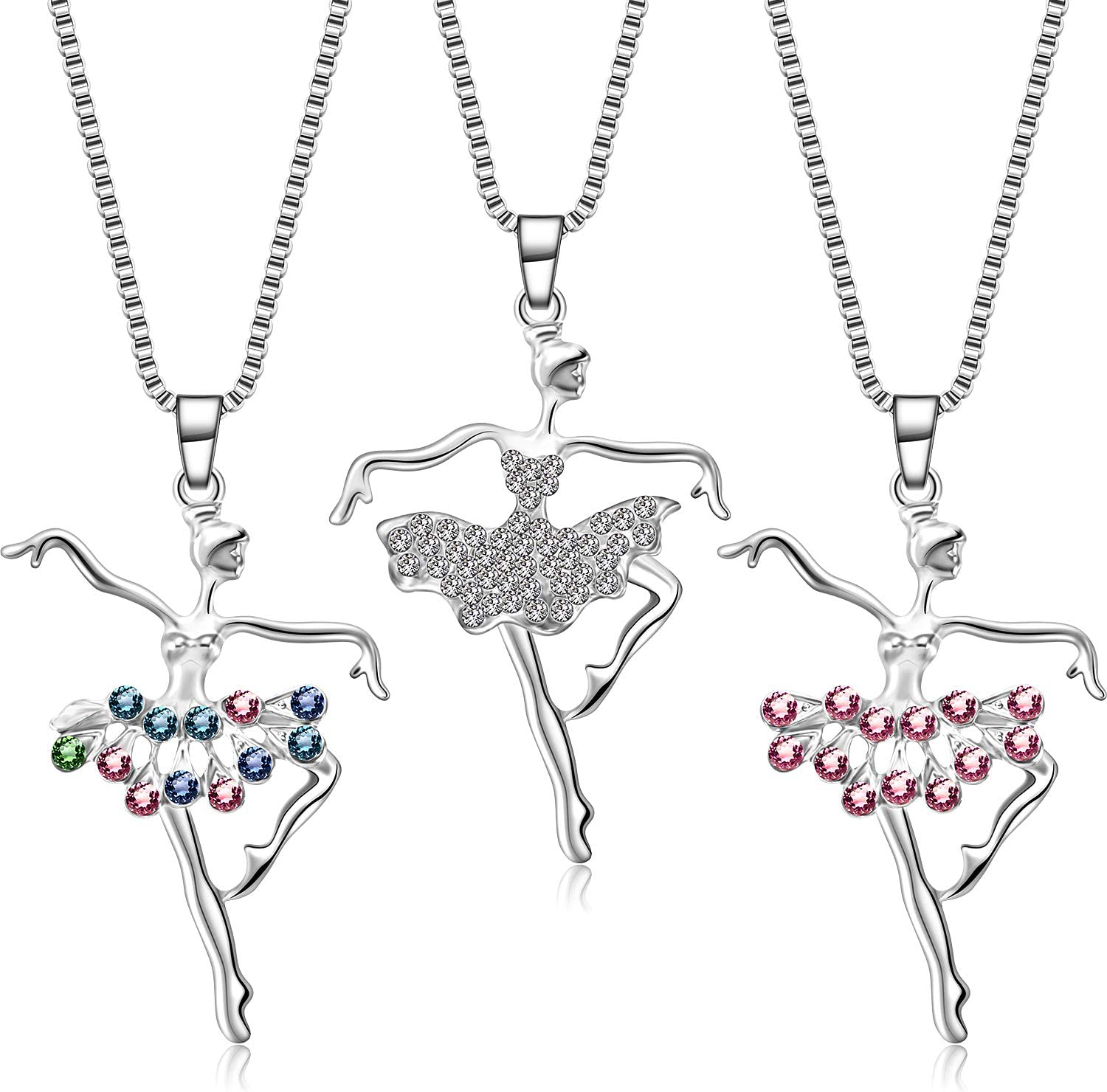 3 Pieces Ballerina Rare Necklace Ballet Tampa Mall Dance Cryst Necklaces Pendant