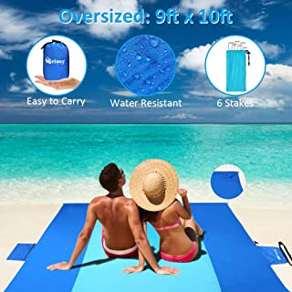 Merisny Beach Blanket 9' x 10' Sand Free Beach Blanket for 7+ Adults - Large Beach Blanket Sand Proof Outdoor Picnic Mat for Travel,Hiking,Camping and Music Festivals