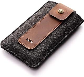 NEW iPhone 12/12 Pro / 12 Pro Max / 12 Mini Hülle/Etui, Brauner, Crazy Horse Leder, Wollfilz handgefertigter iPhone SE, 1...