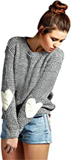 Women's Heart Patchwork Elbow Crewneck Marled Knitted Pullover Sweater