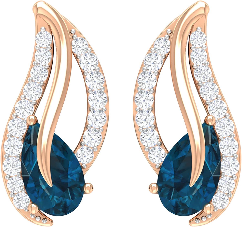 3/4 CT Teardrop Stud Earrings with London Blue Topaz and Diamonds (3X5 MM Pear Cut London Blue Topaz), 14K White Gold, London Blue Topaz