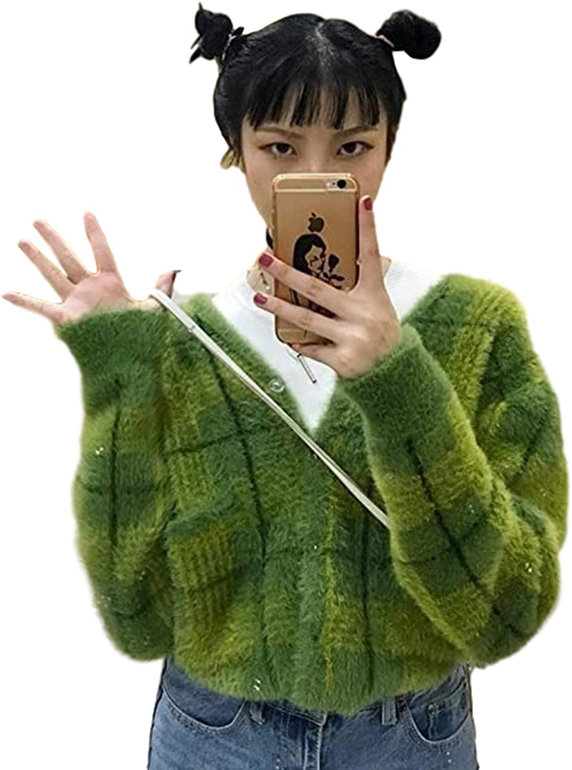 Geometric Y2 Harajuku Green Check Button Front Embroidery Cardigan Jacket Ladies Short Sweater