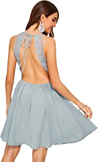 Women's Sleeveless Lace Applique Cocktail Backless Party Flare Mini Dress