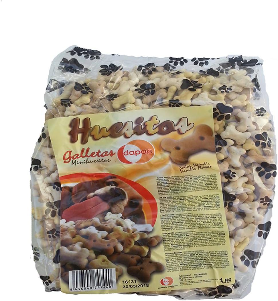 GALLETAS HUESITOS PARA PERRO, deliciosas y equilibradas galletas en forma de huesito para tu perro con sabor a vainilla. Alimentó complementario para mascotas. Bolsa 1kg.