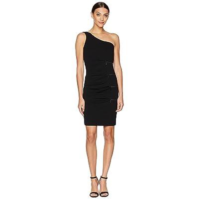 Nicole Miller One Shoulder Dress with Zip (Black) Women