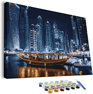 FRAMED Paint by Number Kit Dubai UAE DIY, Canvas Oil Painting for Adult Teens Gift with Brushes and Acrylic Pigment Color ...