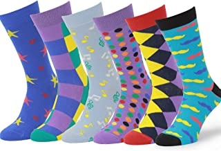 6 Pack Colorful Cotton Fun Bright Patterned Socks, European Made, Men's Women's