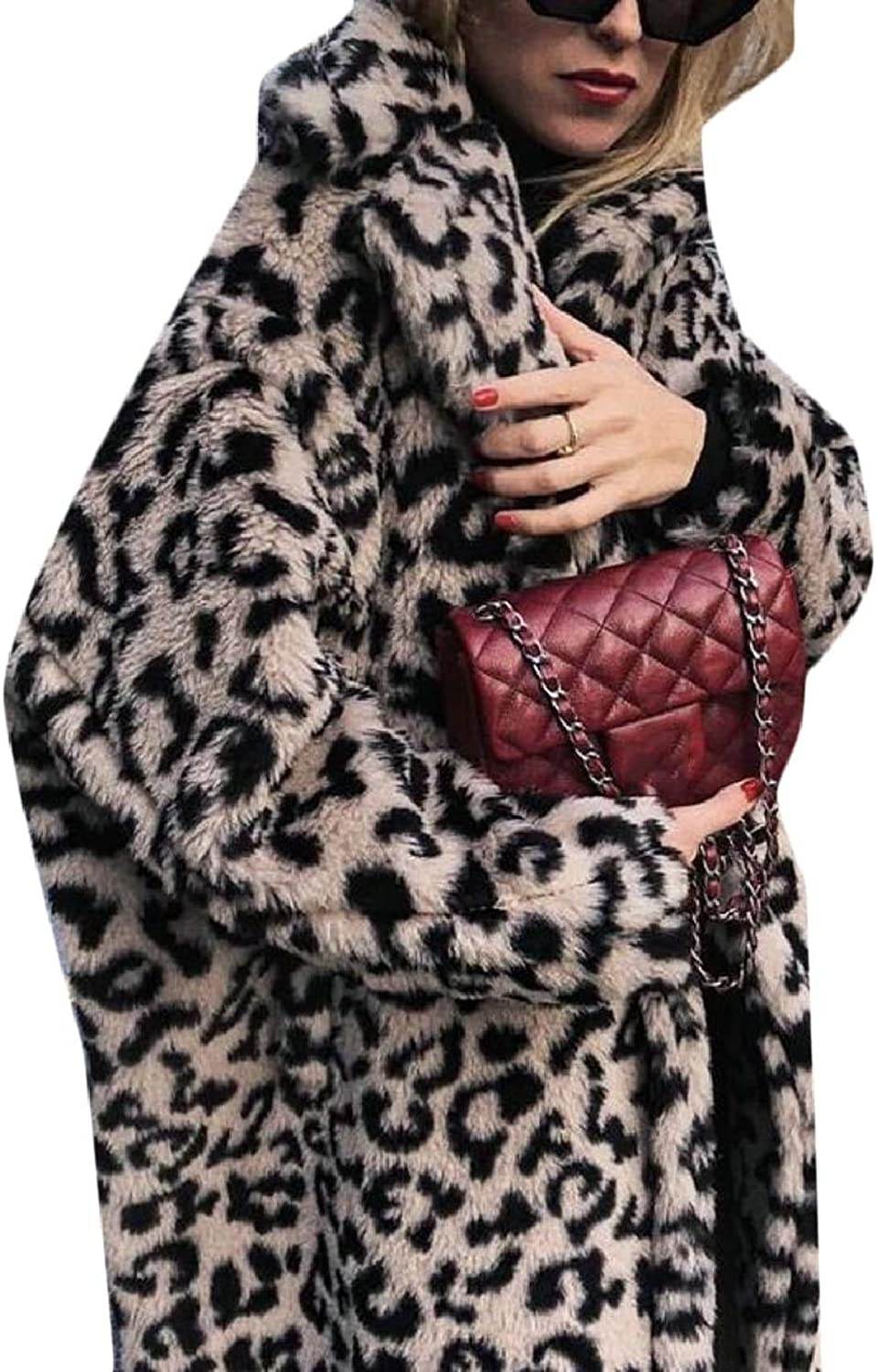 LEISHOP Womens Leopard Faux Fur Coat Long Sleeve Parka Jacket Outwear