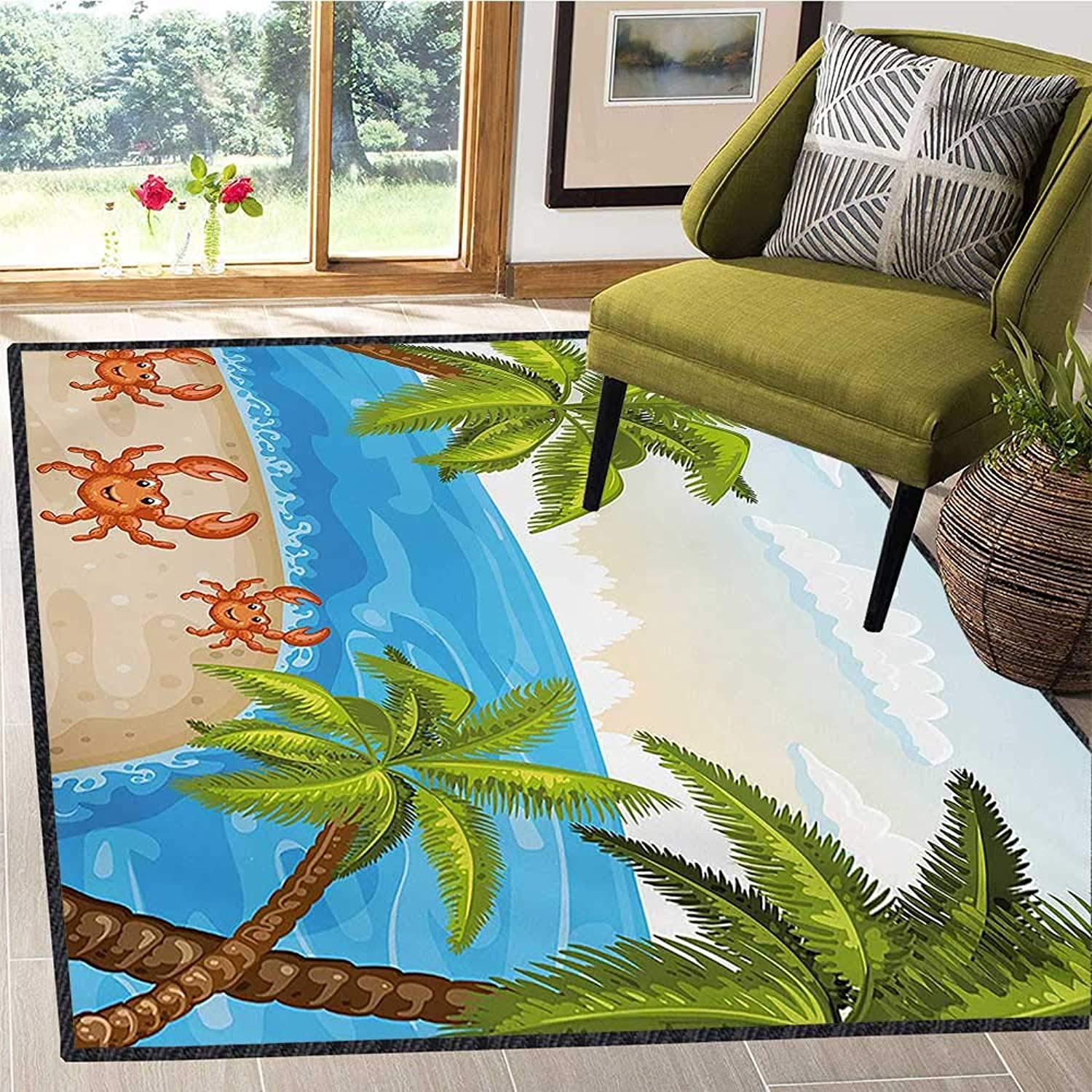 Crabs, Door Mats Area Rug, Cartoon Style Illustration of The Palm Trees and Crabs on Beach Cloudy Sky Print, Door Mats for Inside Non Slip Backing 6x7 Ft Aqua Beige