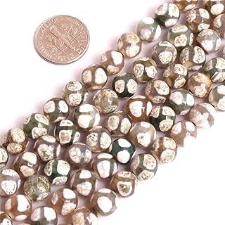 "JOE FOREMAN 8mm Dzi Fire Agate Semi Precious Gemstone Green Loose Beads for Jewelry Making DIY Handmade Craft Supplies 15"""