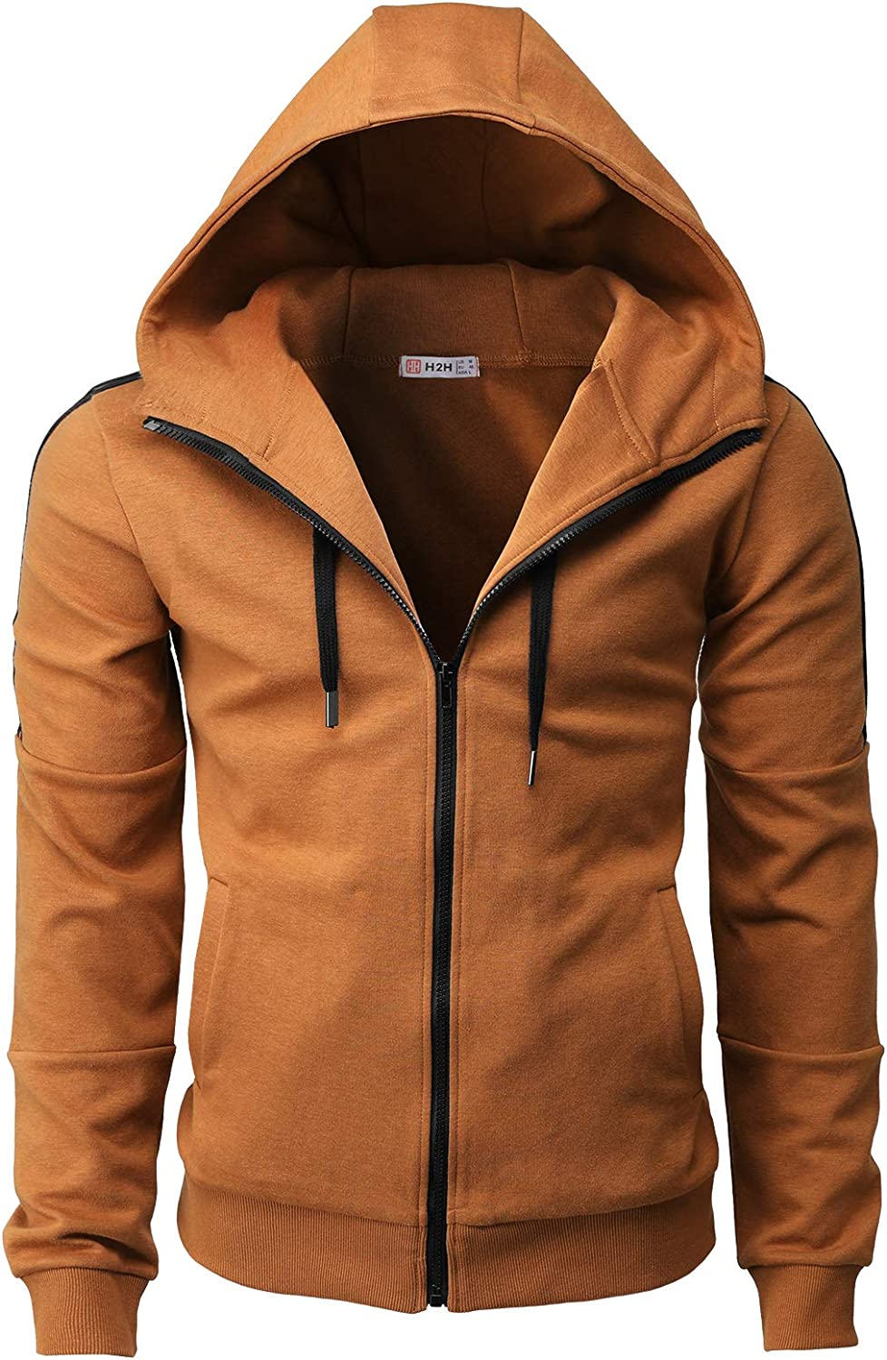 H2H Mens 5☆大好評 Casual Slim 新色 Fit Hoodie Zip-up with Jackets Pocke Active
