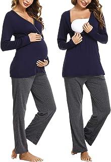 Hawiton Ensemble de Pyjama Maternité Femme Vêtement Grossesse Couleur Unie Vêtement de Nuit Allaitement à Manches Longues