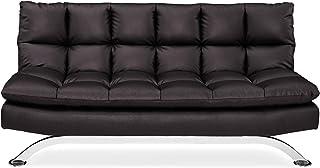 Pearington Bella Leather Multi Position Lay-Flat Sofa Bed, Durable Steel Legs, Java Futon