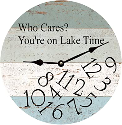 Amazon Com Whatever Lake Time Wall Clock Decorative Round Novelty Printed Wood Clock 12 Inch Home Kitchen