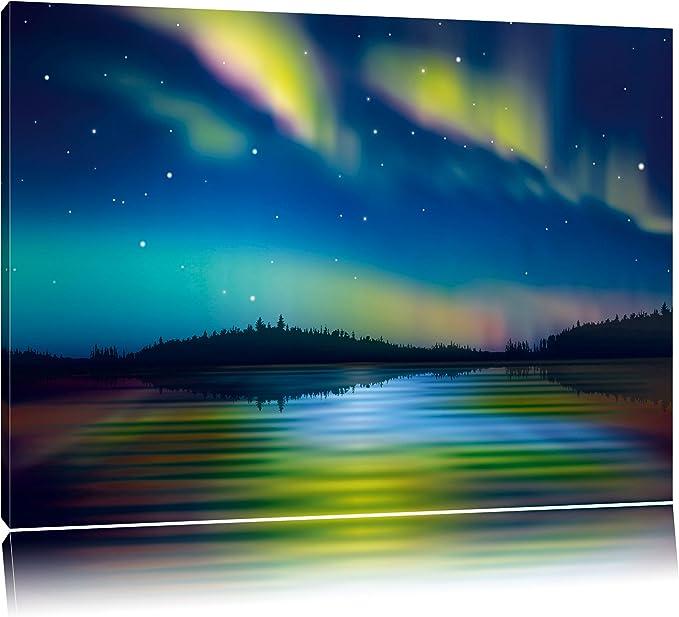 Polarlichter im Wald Alaska XXL Wandbild Kunstdruck Foto Poster P0657